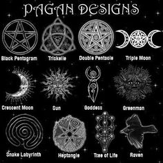 Pagan designs ~ even tho the first is a pentacle, not a pentagram.. I want a each one as a necklace! . Follow me @Amber Sheffield Collections . Visit Paranormalcollections.com to see more cool pagan magick stuff.