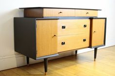 SOLD Striking Beautility Mid Century Sideboard/Cabinet/Dressing Table Refinished with Black Accents