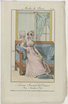 Anonymous   Nouveau Journal des Dames, 1821, Pl. 18 : Redingotte en mousseline des Indes..., Anonymous, Dupré (uitgever), 1821   Vrouw, zittend op een bank met voetenbankje, gekleed in een redingote van 'mousseline des Indes' met reliëf-borduurwerk en voering van satijn. Op het hoofd een muts van 'crêpe lisse', versierd met bloemen. De achterzijde van de muts is in de spiegel achter de bank te zien. Prent uit het modetijdschrift Nouveau Journal des Dames, Parijs, van 5 juli 1821 tot eind…