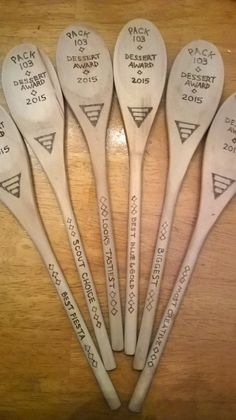 Wood burned spoons for Cub Scout cake awards.