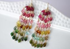 The Tourmaline Waterfall Earrings – Watermelon Tourmaline Tassel Earrings, Long Statement Tourmaline Earrings in Gold Filled - Valltasy Pearl Stud Earrings, Tassel Earrings, Cluster Earrings, Chandelier Earrings, Gold Earrings Designs, Jewellery Designs, Tourmaline Earrings, Watermelon Tourmaline, Beaded Jewelry