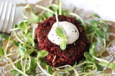beetroot patties with goat cheese.