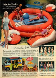 Ward's Exclusive Inflatable Pool Set, Malibu Barbie, Ken, Francie & P.J., Beach Bus and Barbie & Ken Swimwear Fashions from the Montgomery Ward Christmas Catalog, 1974