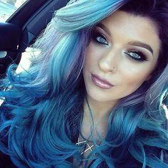 Hair inspo by @grgctts #hair #inspo #blue #bluehair #bouncycurls #hairtrend #hairfashion #hairgoals #hairofinstagram