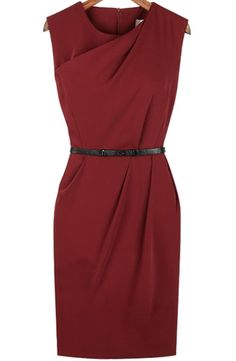 Red Sleeveless Split Side Zipper Asymmetrical Dress