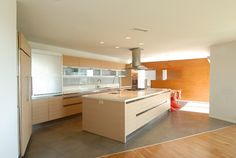 Transition from tile/concrete to wood floors.  Kitchen Photos Wood, Concrete, And White Design, Pictures, Remodel, Decor and Ideas - page 99