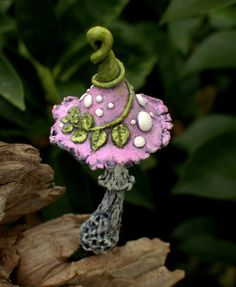 Light pink khaki with leaves Amanita fantasy mushroom ,polymer clay toadstool Home decor,Fairy Garden