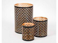 Mesh Black and Gold Powder Coated Tea Light Holder - Set of 3