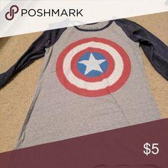 Captain America Baseball Tee Captain America Baseball Tee 3/4 sleeves Marvel Tops Tees - Short Sleeve