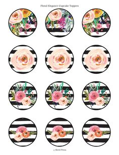 These elegant printable cupcake wrappers and toppers add a touch of glamour to your birthday celebrations. TO ORDER: These cupcake wrappers and Bottle Cap Images, Bottle Caps, Floral Cupcakes, Printable Scrapbook Paper, Circle Labels, Kate Spade Party, Round Logo, Decoupage Vintage, Cupcake Wrappers
