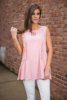 """""""Love Your Ways Top, Rose Quartz""""    We just love the way this has those slight ruffled sides. We love the way the crochet gives little peeks of skin. We love the keyhole neckline. Basically, we just love all the ways of this precious top!"""