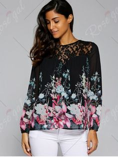 Floral Print Lace Patchwork Blouse - BLACK M