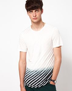 Enlarge Unconditional T-Shirt with Striped Dip Dye Print
