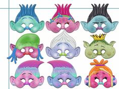 This listing is for (9 pdf patterns) Unique Trolls Printable Masks Collection-best choice birthday, decoration party, party favor, photo props for your child(adult). Paper mask easy to print, cut and enjoy! You will need Adobe Reader in order to open each file. Get it FREE at Adobe.com All masks are of one common scheme. They are ideal for toddlers, children or adults! INSTANT DOWNLOAD INCLUDES: • 1 PDF (9 patterns) file ready for printing products • Detailed instructions for making • All…