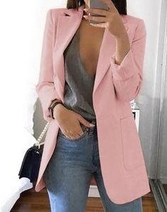 Women's Slim Casual Solid Long Blazer With Pocket Work Office Lady Spring Autumn Suit Long Sleeve Notched Blazer Coat, White / XL Casual Blazer Women, Blazers For Women, Cardigans For Women, Suits For Women, Clothes For Women, Ladies Blazers, Casual Shirt, Classy Outfits, Casual Outfits