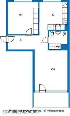 2 rooms (52,5m2) / Läpitalon kaksio (52,5m2) #kaksio #pohjapiirros Floor Plans, Floor Plan Drawing, House Floor Plans