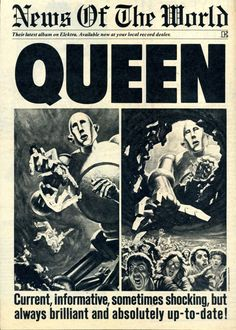 Queen : News of the World advert; art by Frank Kelly Freas Albums Queen, Freedy Mercury, Brighton Rock, Queen Poster, Rap, Queen Photos, Queen Images, We Are The Champions, Roger Taylor