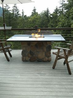 how to build a propane fire pit dining table