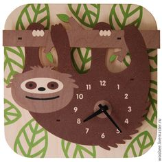"""Wall clock """"sloth"""". Exclusive design from WOOBEE - wall clock, childrens clock"""