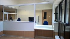 Staff in a particularly busy surgery in the Shires felt exposed while working at the reception desk..Screen Plus proposed a framed toughened glass screen across the desk front and DDA desk with a sliding glass side hatch to enable sizeable packages to be delivered. All Design, House Design, Unique Desks, Security Screen, Laminated Glass, Front Office, Waiting Area, Security Solutions, Desk Space