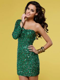 Multi-Color Sequined Sweetheart Neckline One Long Sleeves Short Cocktail Dress