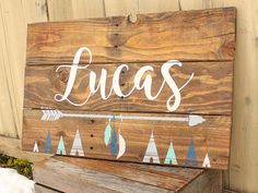 Rustic Large Nursery Name Arrow and  feathers teepees baby name sign personalized reclaimed pallet wood little boy room boho tribal by WehuntWoodDecor on Etsy