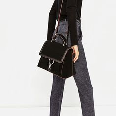 Image 1 of SUEDE CITY BAG WITH RING DETAIL from Zara