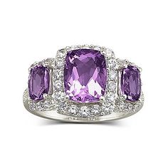 3 Stone Genuine Amethyst Ring - jcpenney