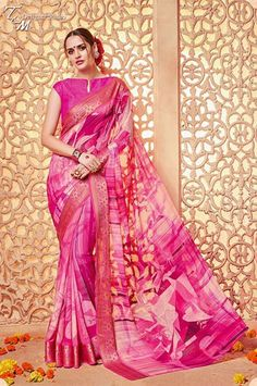 Pink Georgette Digital Print Saree with Lace Border