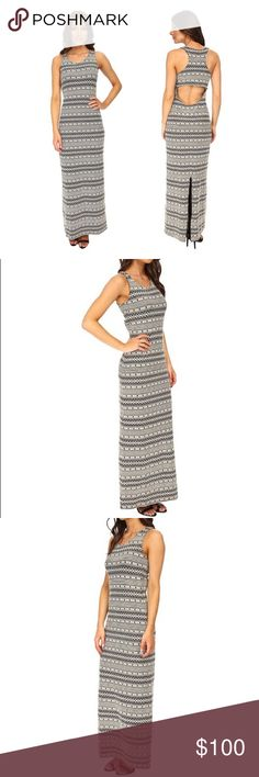 NWT BB DAKOTA Black/White Maxi Dress Cute BB Dakota black and white striped and tribal print dress with racer back, back cutout, and lower back slit. Super cute for any time of the year! I'm happy to answer any questions you may have! BB Dakota Dresses Maxi