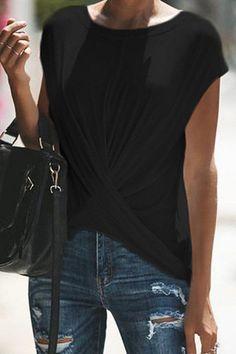 Plain round neck short-sleeve T-shirt For summer Fashion Wear, Trendy Fashion, Plus Size Fashion, Little Girls Coats, Stylish Coat, Shirt Blouses, T Shirt, Cotton Jacket, Chic Dress