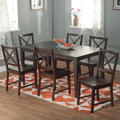 Simple Living Cross Back Espresso 7 Piece Dining Set By