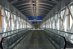 Elevated walkway at Logan International Airport in Chicago.