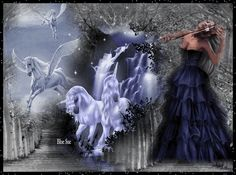 Unicorns and pegasus pass a woman playing violin