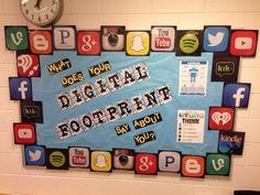 Digital footprint bulletin board for my classroom/ office.  Online citizenship