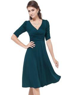 Silke Plain Halvlange ermer Knelengde Elegant Kjoler (1012683) @ floryday.com