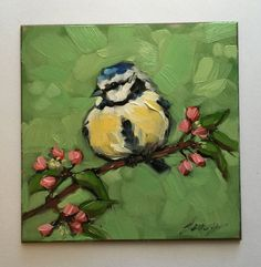 Blue Tit painting Original impressionistic oil painting of a Blue Tit 44 on panel bird art flowers birds Bird Paintings On Canvas, Mini Canvas Art, Small Paintings, Animal Paintings, Oil Painting On Canvas, Painting & Drawing, Original Paintings, Paintings Of Flowers, Oil Painting Flowers