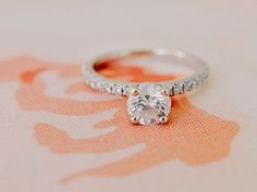classic round solitaire on a platinum diamond band