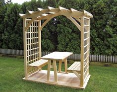 45 Garden Arbor Bench Design Ideas & DIY Kits You Can Build Over Weekend Picnic Pergola Arbor with Table and Two Benches