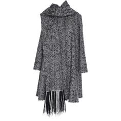 Paule Ka Tweed Swing Coat With Fringe Scarf ($2,565) ❤ liked on Polyvore featuring outerwear, coats, black, paule ka, tweed coats, long sleeve coat, trapeze coat and collarless coats