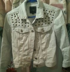 Studded Jeans Jacket NOT WHITE Its a light washed blue 3 quarter sleeves 10/10 condition Jessica Simpson Jackets & Coats Jean Jackets