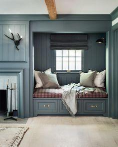 "256 Likes, 4 Comments - Hendricks Churchill (@hendrickschurchill) on Instagram: ""'Little Farmhouse' living room renovation, Bedford, NY. Design features custom day bed niche (with…"""