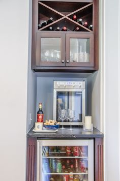 Custom Built Wine Bar In Place Of A Small Closet In This #kitchen #remodel.  Wine Bar Comes With A Mini Fridge, A Wine Dispenser, And Shelving For Wine  ...