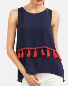 93e29060de4 Fashion fringe tank top for women navy sleeveless t shirt High Low Shirt