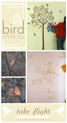 Paint with Bird #Stencils and take flight with #CuttingEdgeStencils