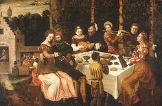 Circle of Ambrosius Benson (?, ?; Bruges, 1550) The Flirtatious scene  1545-1560 Oil on wood 53,5 x 81 cm  Inv. 2009.7.1