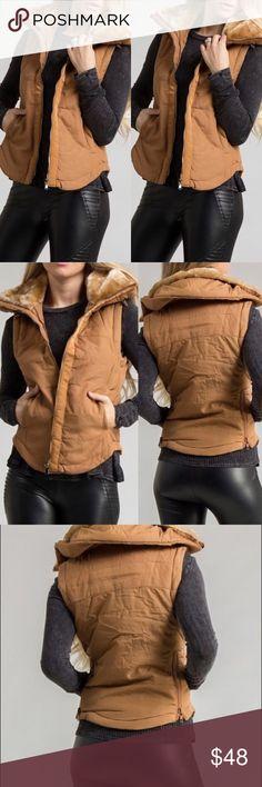 Women's Camel vest with faux fur Camel vest. Other
