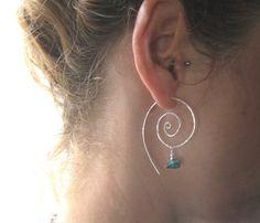 Protect, Amulet Hoops, Sterling Silver Swirl Hoop Earrings, Earthy Organic Hoops via Etsy