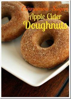 {Baked} Cinnamon-Sugar Apple Cider Doughnuts via FoodieMisadventures.com | I think I need a doughnut pan now. :)