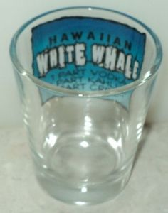WHALE SHOT GLASS Hawaiian White Whale Drink Mix Recipe Inside Blue White Shooter